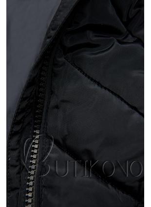 Tmavomodrá dlouhá prošívaná bunda