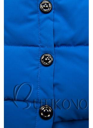 Kobaltově modrá prošívaná bunda na zimu