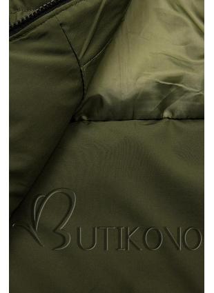 Khaki prošívaná bunda na zimu