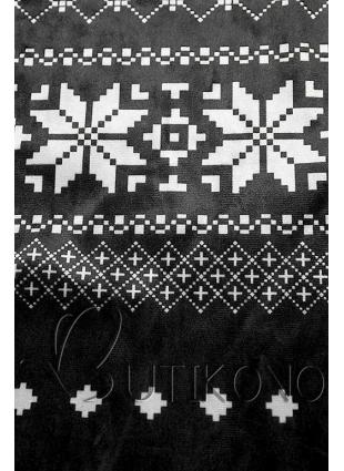 Černé sametové šaty se zimním motivem