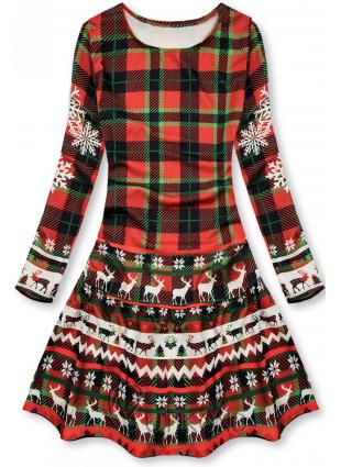 Kárované šaty s volánem