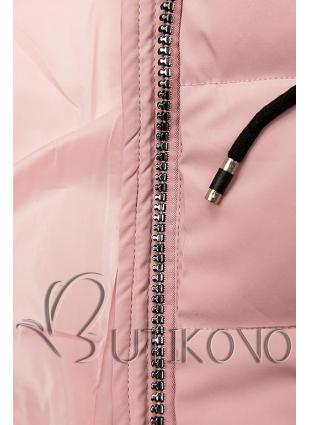 Růžová prošívaná bunda s kapucí