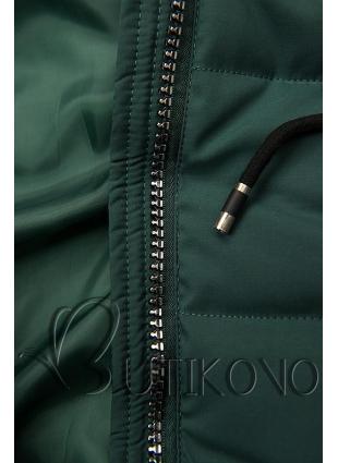 Zelená prošívaná bunda s kapucí