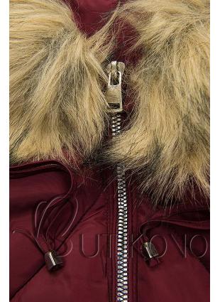 Bordó zimní bunda s bambulkami