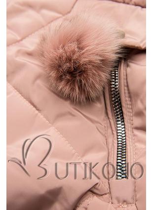 Růžová zimní bunda s bambulkami