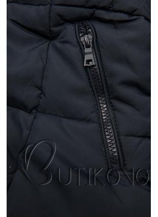 Tmavě modrá zimní bunda s kapucí