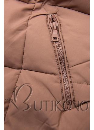 Starorůžová zimní bunda s kapucí