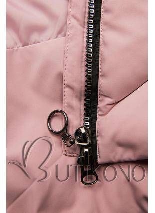 Růžová zimní bunda s umělou kožešinou