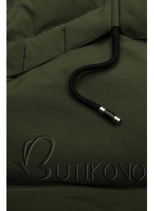 Khaki zimní bunda s černými detaily