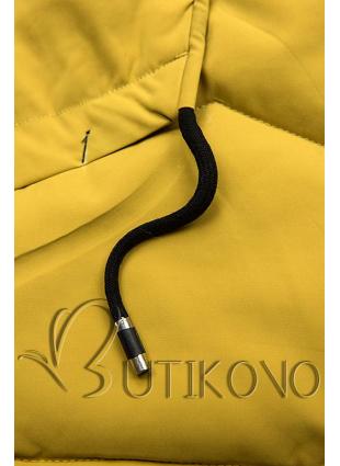 Žlutá zimní bunda s černými detaily