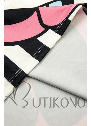 Plus Size pruhovaná tunika s potiskem černá/bílá