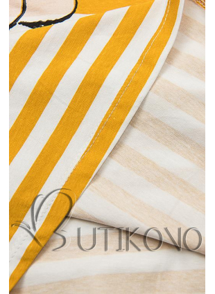 Pruhované šaty s potiskem žluté