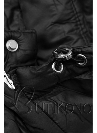 Černá prošívaná bunda na přechodné období