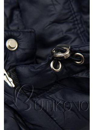 Tmavě modrá prošívaná bunda na přechodné období