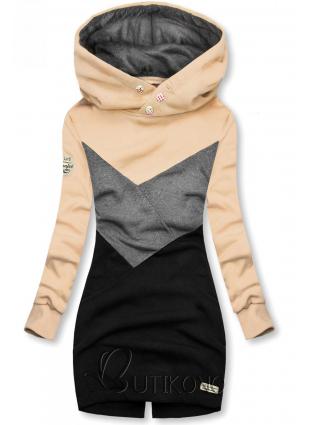 Mikina s oblékáním přes hlavu béžová/šedá/černá