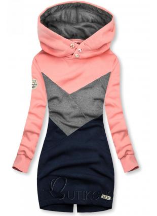 Mikina s oblékáním přes hlavu růžová/šedá/modrá