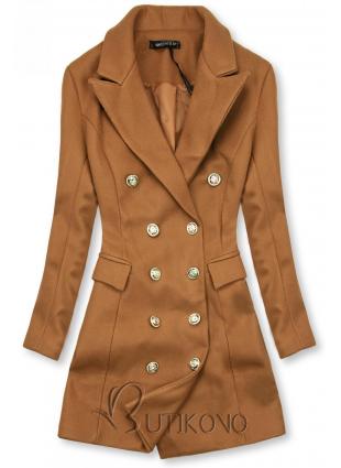 Elegantní podzimní kabát hnědý