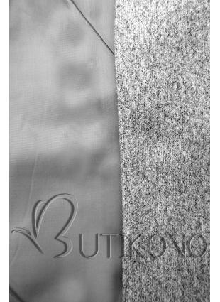 Elegantní podzimní kabát melírovaný šedý