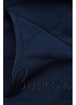 Tmavě modrá tepláková souprava se vzorovanou kapucí