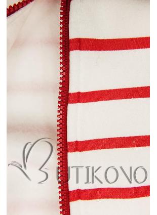 Pruhovaná mikina bílá/červená