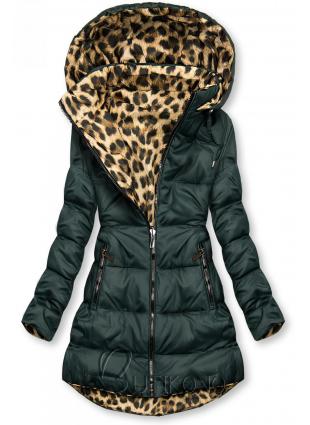 Oboustranná bunda zelená/leopardí vzor