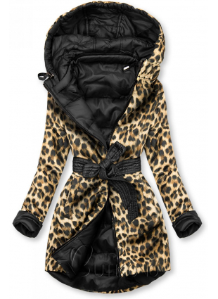 Oboustranná bunda černá/leopardí vzor