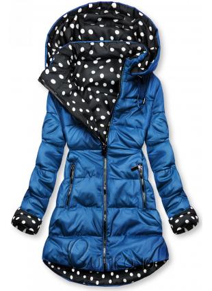 Oboustranná bunda kobaltová/tečkovaná