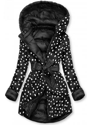 Oboustranná bunda černá/tečkovaná