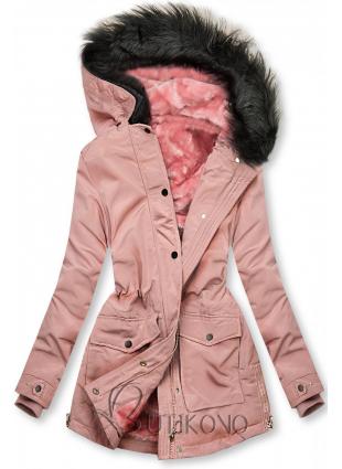 Růžová bunda zateplena plyšem