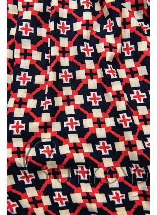 Modro-červené šortky s potiskem
