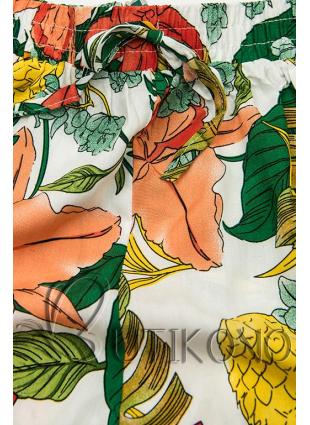 Květinové šortky s krajkou bílá/oranžová