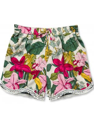 Květinové šortky s krajkou bílá/růžová