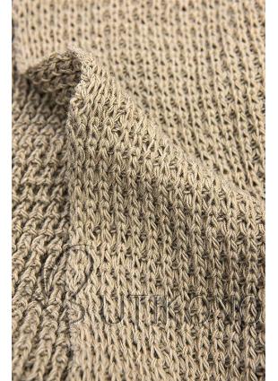Hnědý asymetrický pletený kardigan