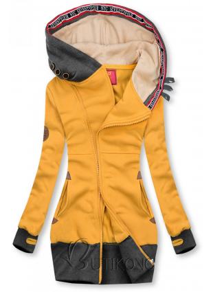 Prodloužená mikina s kapucí žlutá/grafitová