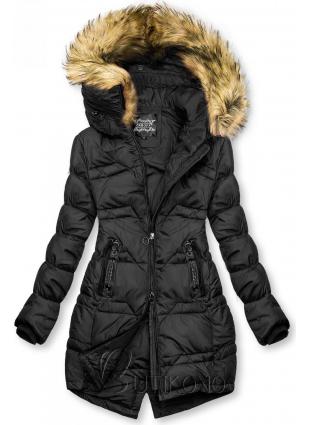 Černá prošívaná bunda na podzim/zimu