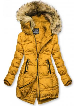 Hořčicově žlutá prošívaná bunda na podzim/zimu