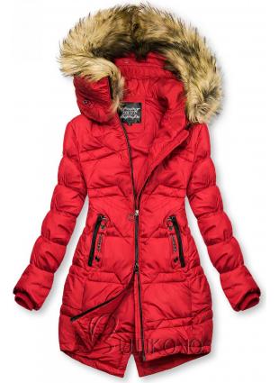 Červená prošívaná bunda na podzim/zimu