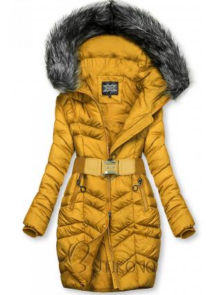 Hořčicově žlutá prodloužená bunda s páskem