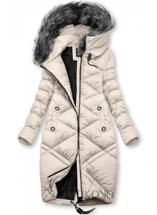 Krémová dlouhá prošívaná bunda