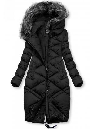 Černá dlouhá prošívaná bunda
