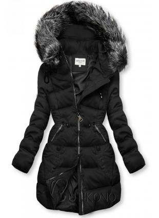 Černá prošívaná bunda s kapucí
