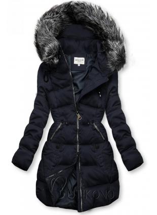 Tmavě modrá prošívaná bunda s kapucí