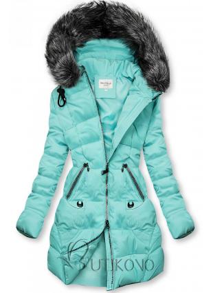 Azurová prošívaná bunda s kapucí