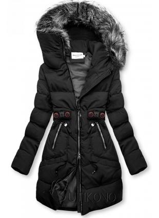 Černá zimní bunda s černými detaily