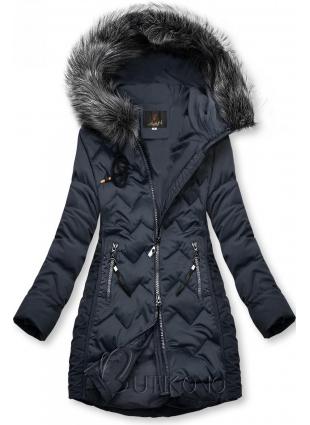 Tmavě modrá prošívaná bunda na období podzim/zima