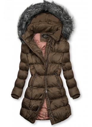 Hnědá zimní bunda s kožešinou