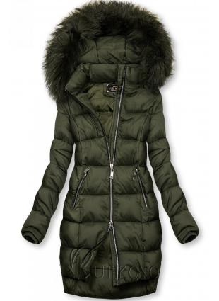 Khaki zimní bunda na zip