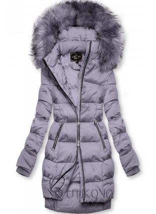 Fialová zimní bunda na zip