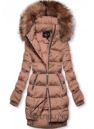 Starorůžová zimní bunda na zip