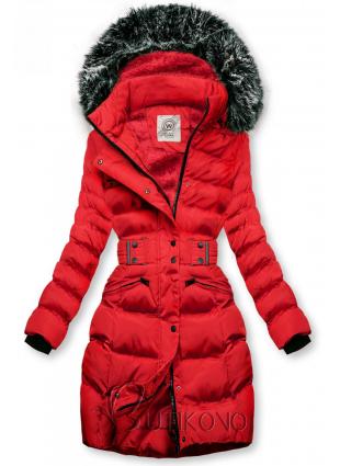 Červená bunda s odepínatelnou kapucí